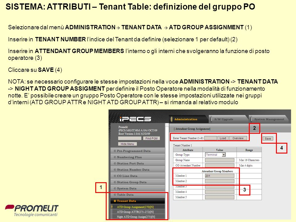 SISTEMA: ATTRIBUTI – Tenant Table: definizione del gruppo PO