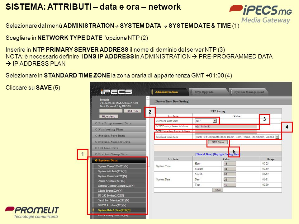 SISTEMA: ATTRIBUTI – data e ora – network