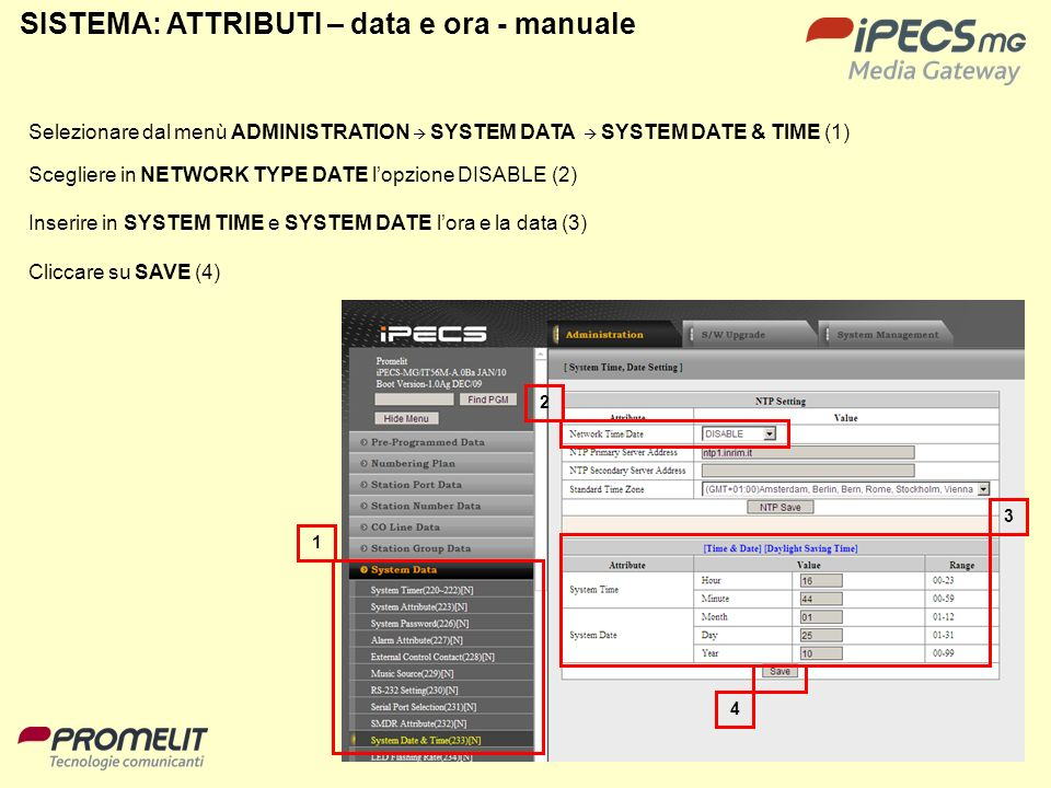 SISTEMA: ATTRIBUTI – data e ora - manuale