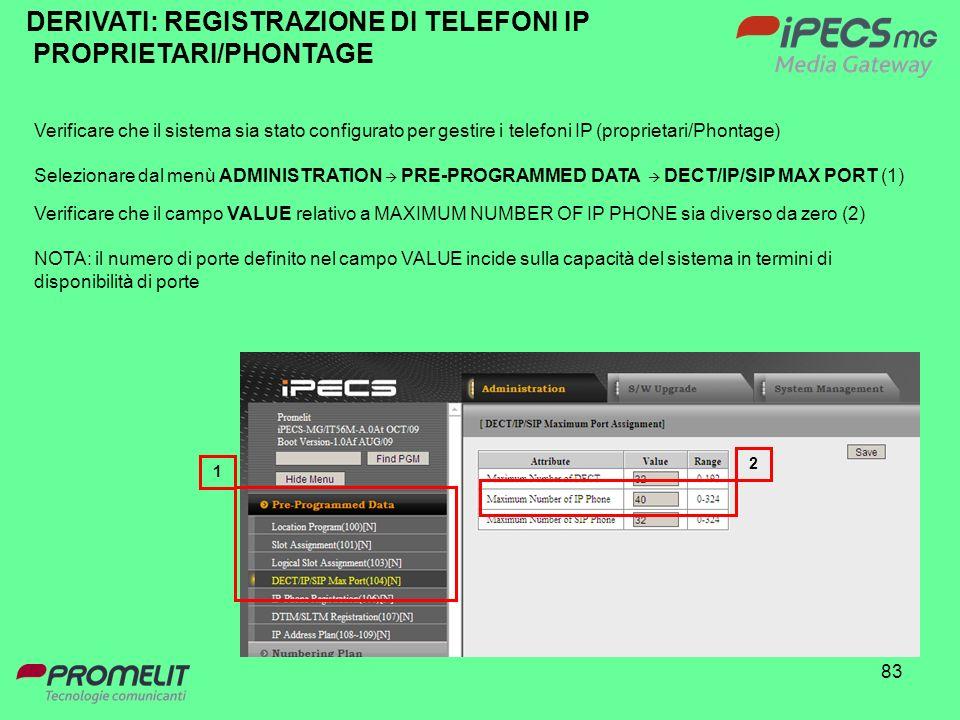 DERIVATI: REGISTRAZIONE DI TELEFONI IP PROPRIETARI/PHONTAGE