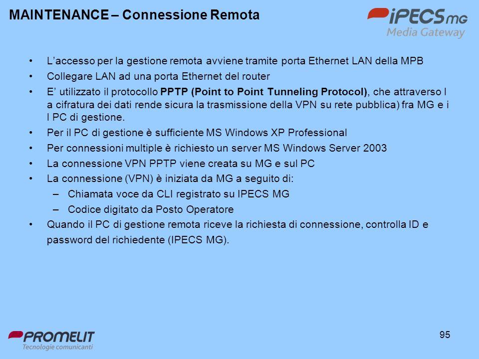 MAINTENANCE – Connessione Remota