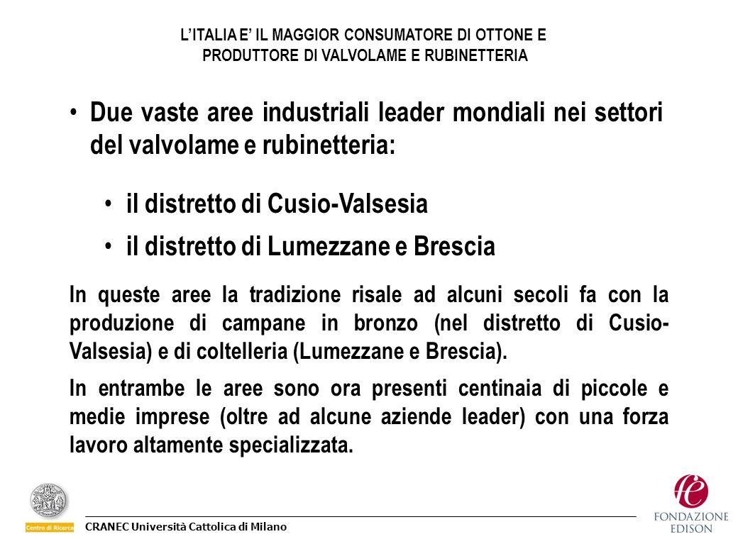 il distretto di Cusio-Valsesia il distretto di Lumezzane e Brescia