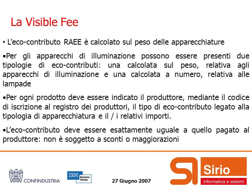 La Visible Fee L'eco-contributo RAEE è calcolato sul peso delle apparecchiature.