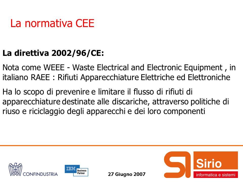 La normativa CEE La direttiva 2002/96/CE: