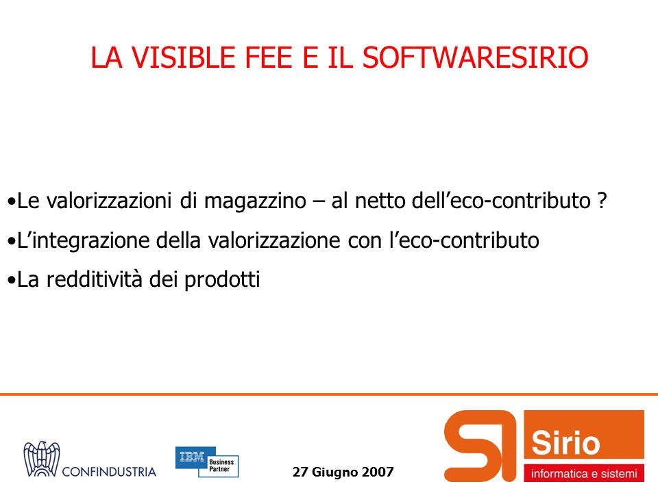 LA VISIBLE FEE E IL SOFTWARESIRIO
