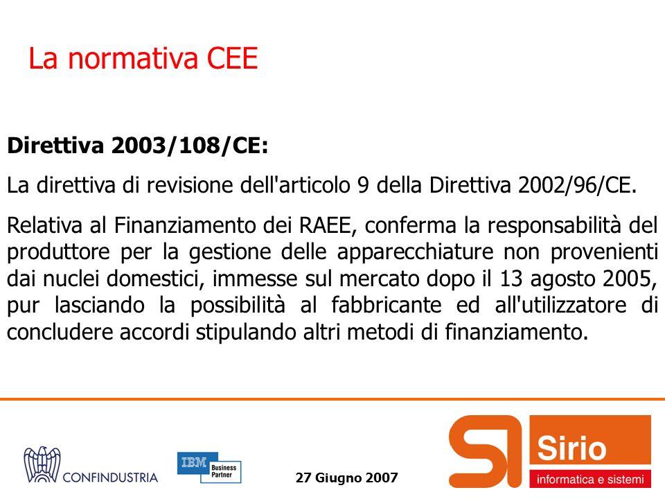La normativa CEE Direttiva 2003/108/CE:
