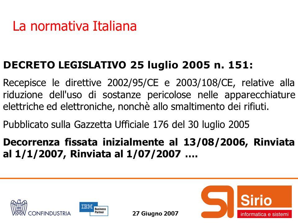 La normativa Italiana DECRETO LEGISLATIVO 25 luglio 2005 n. 151: