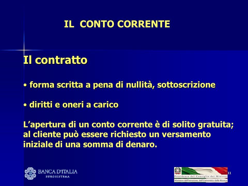 Il contratto IL CONTO CORRENTE