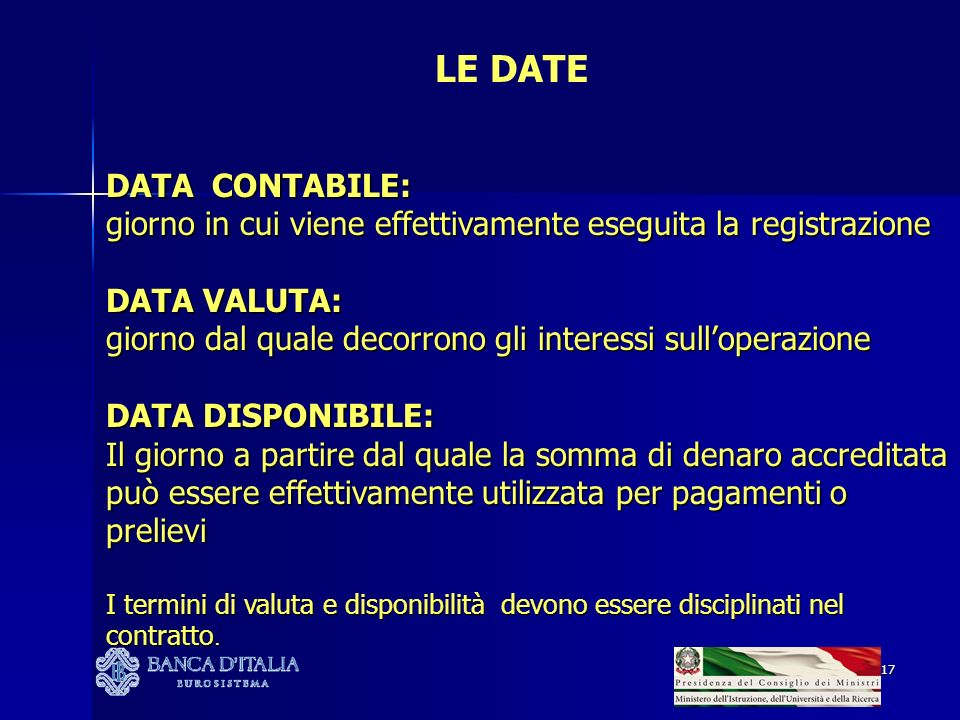 LE DATE DATA CONTABILE: