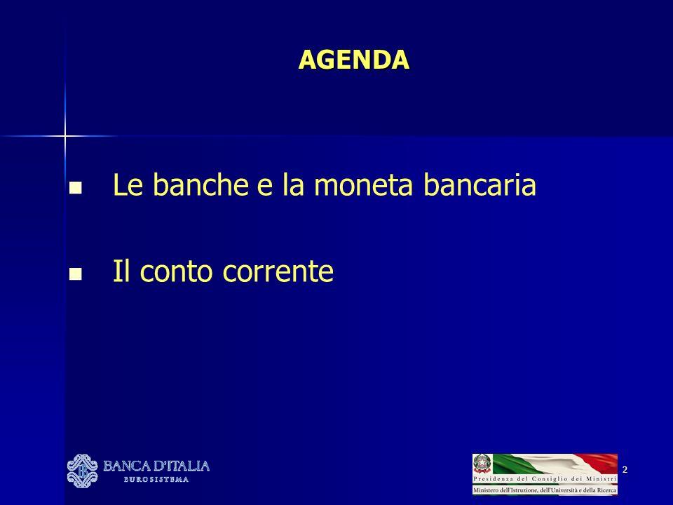 Le banche e la moneta bancaria Il conto corrente