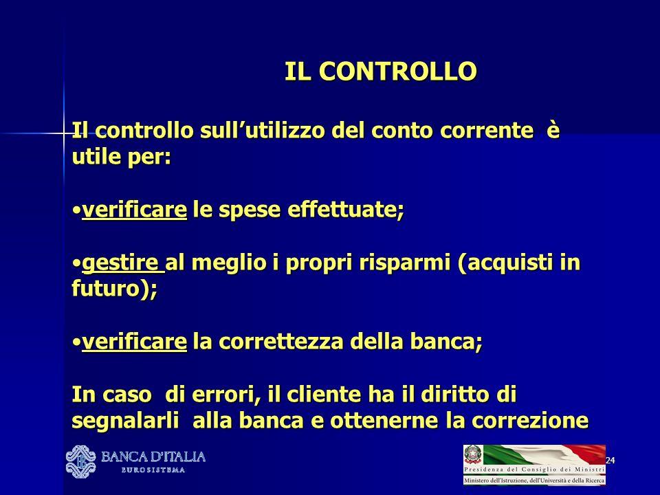 IL CONTROLLO Il controllo sull'utilizzo del conto corrente è utile per: verificare le spese effettuate;
