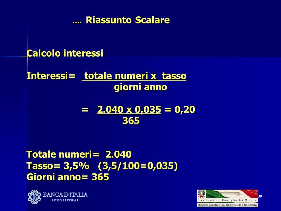 Interessi= totale numeri x tasso giorni anno = 2.040 x 0,035 = 0,20