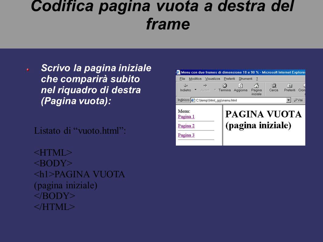 Codifica pagina vuota a destra del frame