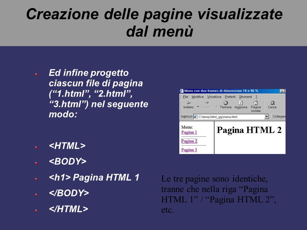 Creazione delle pagine visualizzate dal menù