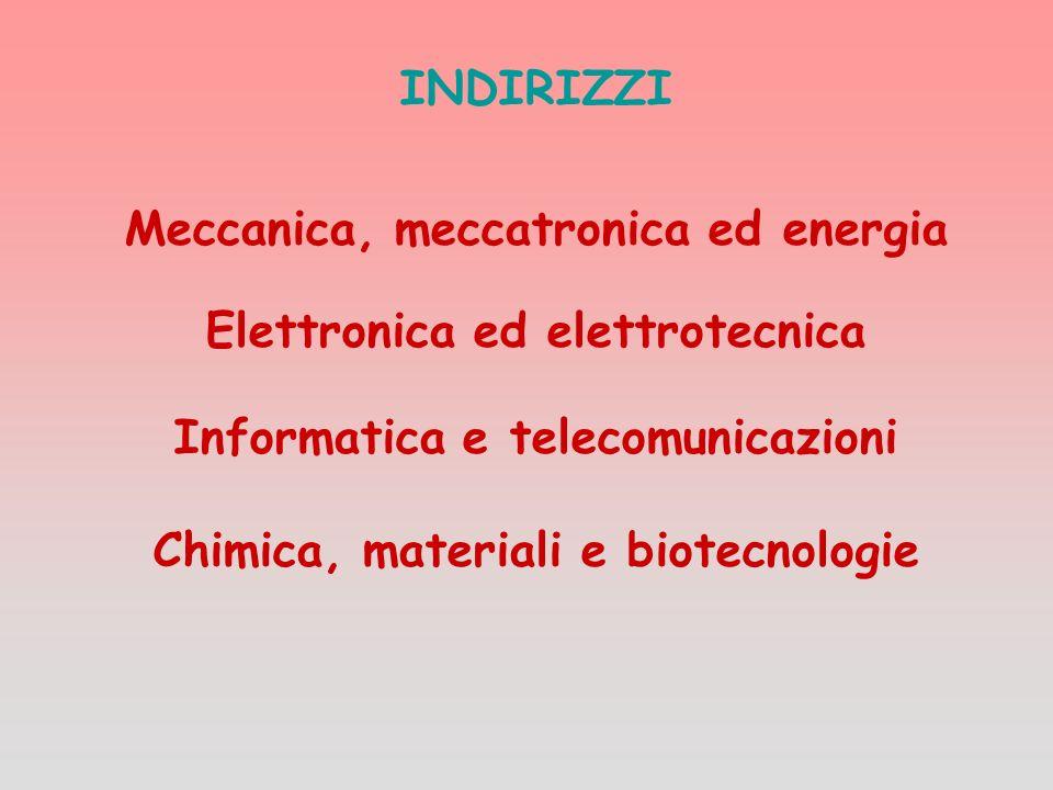 Meccanica, meccatronica ed energia Elettronica ed elettrotecnica