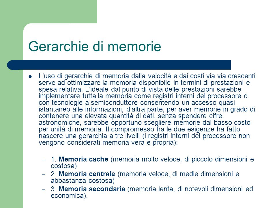 Gerarchie di memorie