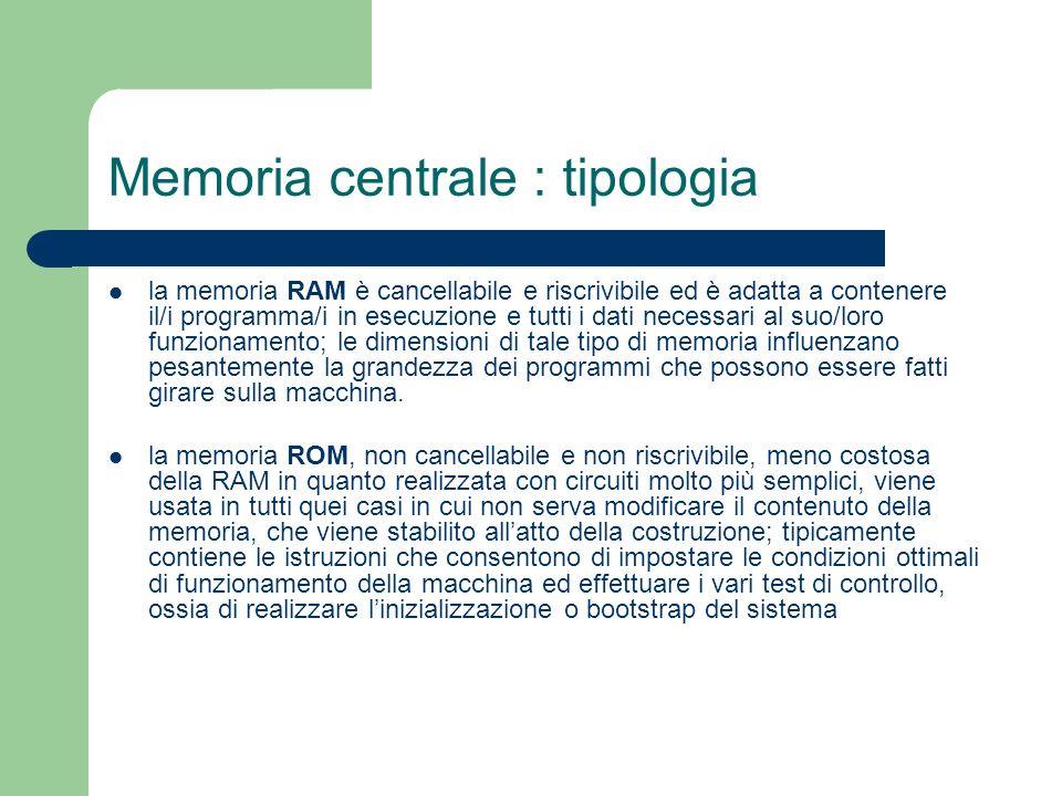 Memoria centrale : tipologia