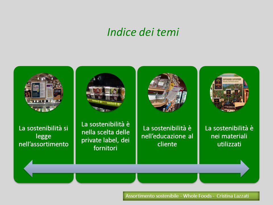 Indice dei temiLa sostenibilità si legge nell'assortimento. La sostenibilità è nella scelta delle private label, dei fornitori.