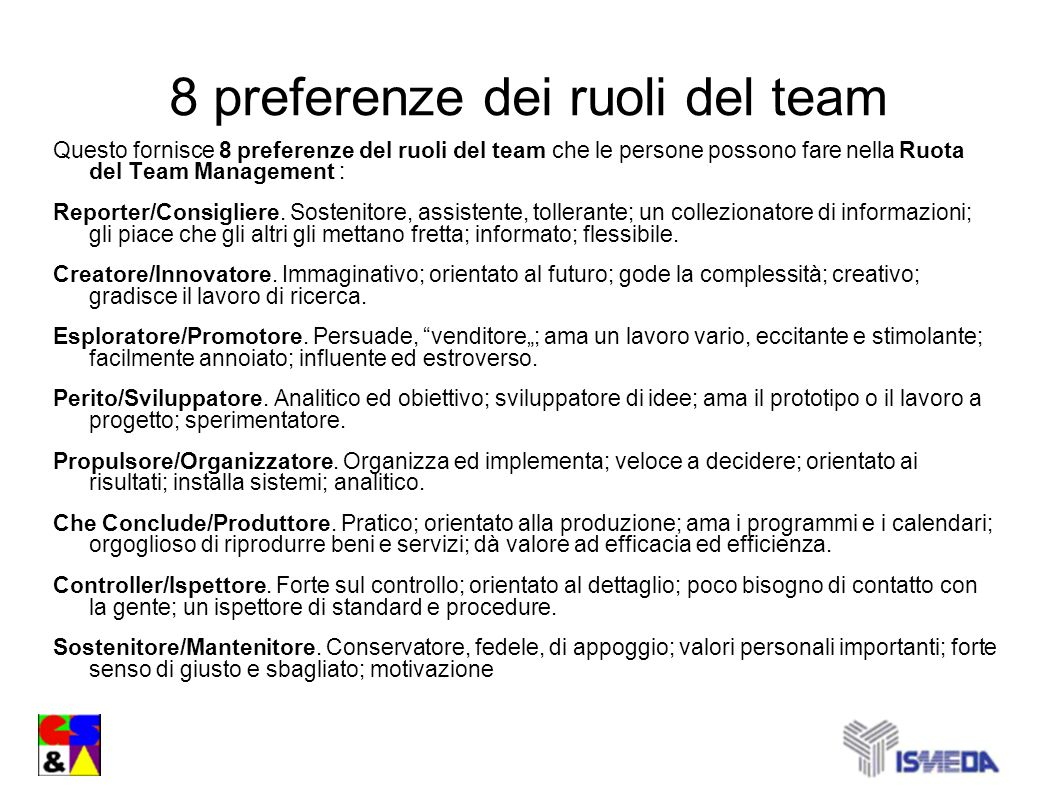 8 preferenze dei ruoli del team