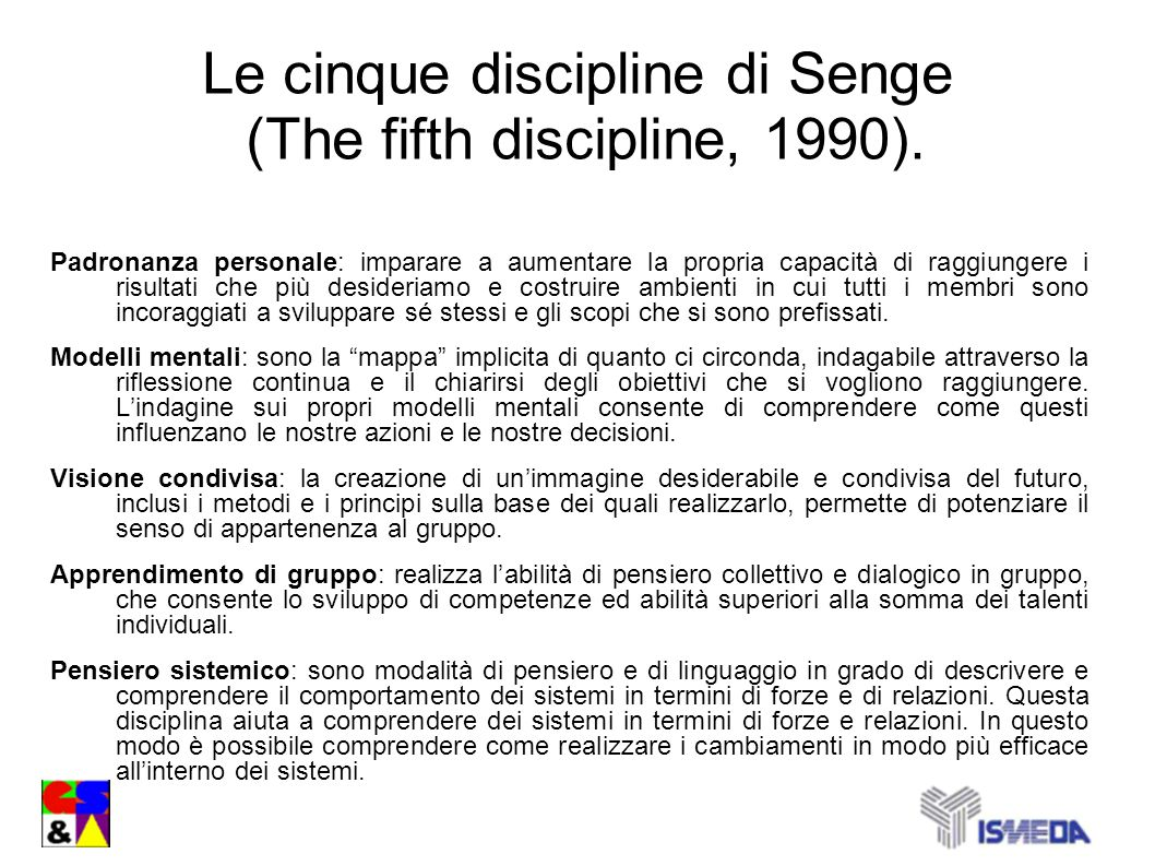 Le cinque discipline di Senge (The fifth discipline, 1990).
