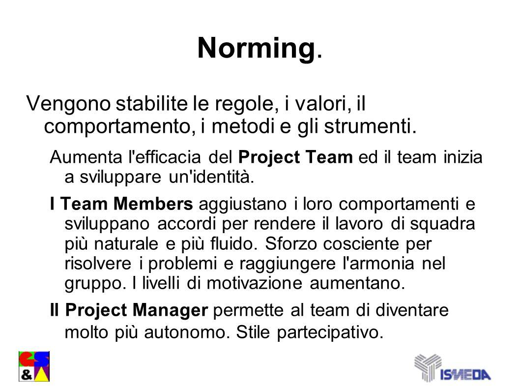 Norming.Vengono stabilite le regole, i valori, il comportamento, i metodi e gli strumenti.