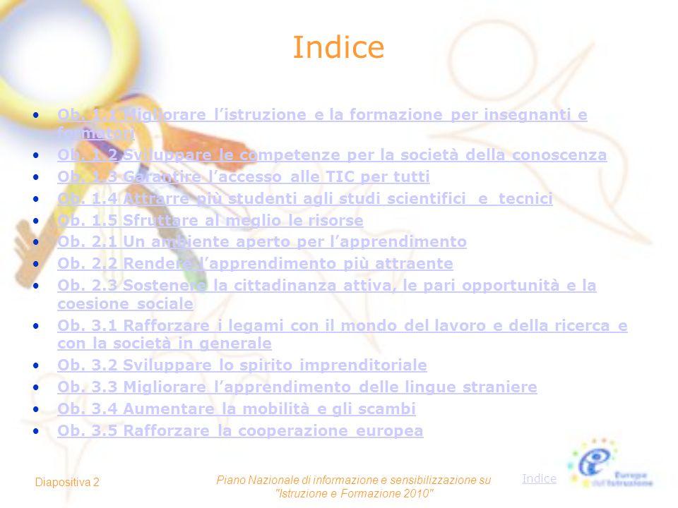 IndiceOb. 1.1 Migliorare l'istruzione e la formazione per insegnanti e formatori. Ob. 1.2 Sviluppare le competenze per la società della conoscenza.