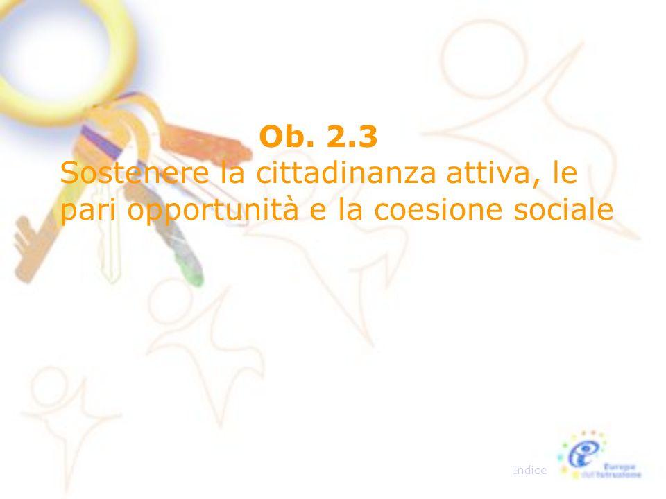 Ob. 2.3 Sostenere la cittadinanza attiva, le pari opportunità e la coesione sociale