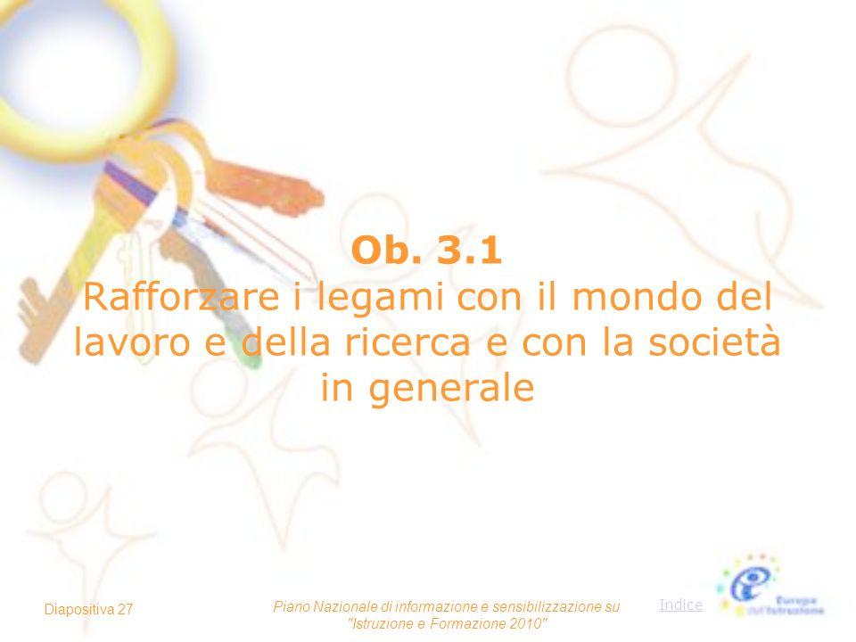 Ob. 3.1 Rafforzare i legami con il mondo del lavoro e della ricerca e con la società in generale