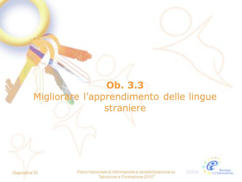Ob. 3.3 Migliorare l'apprendimento delle lingue straniere