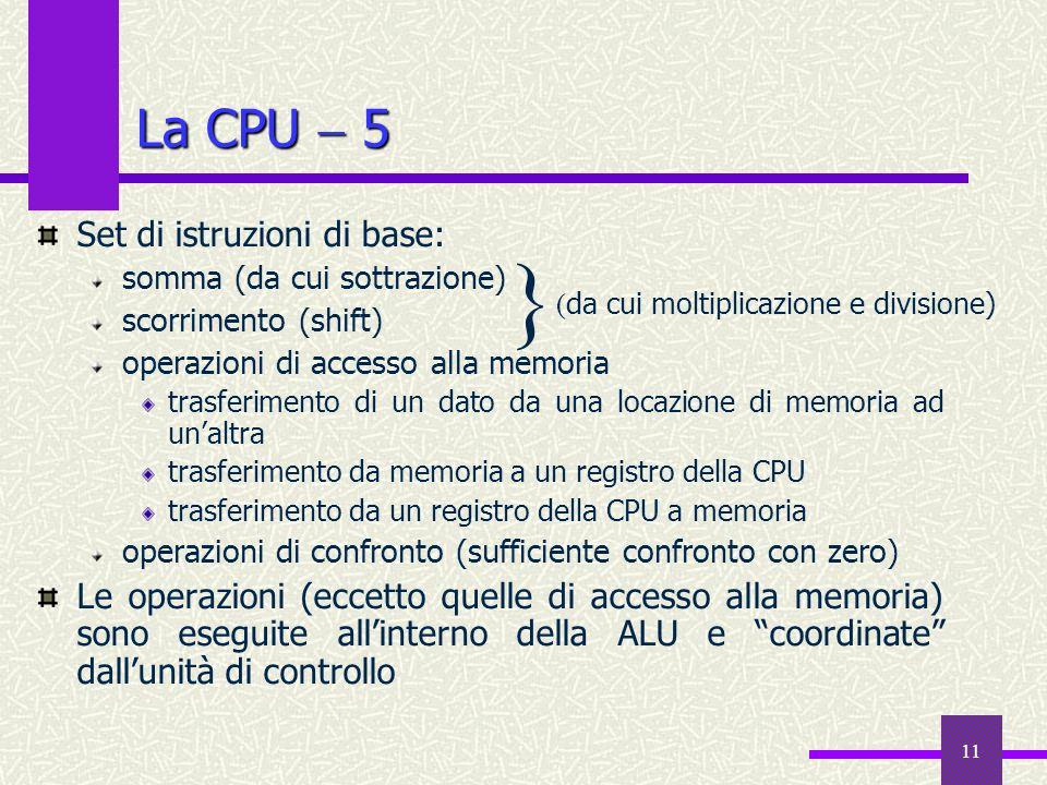 } La CPU  5 Set di istruzioni di base: