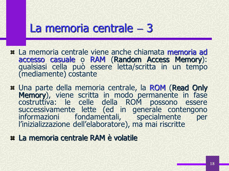 La memoria centrale  3
