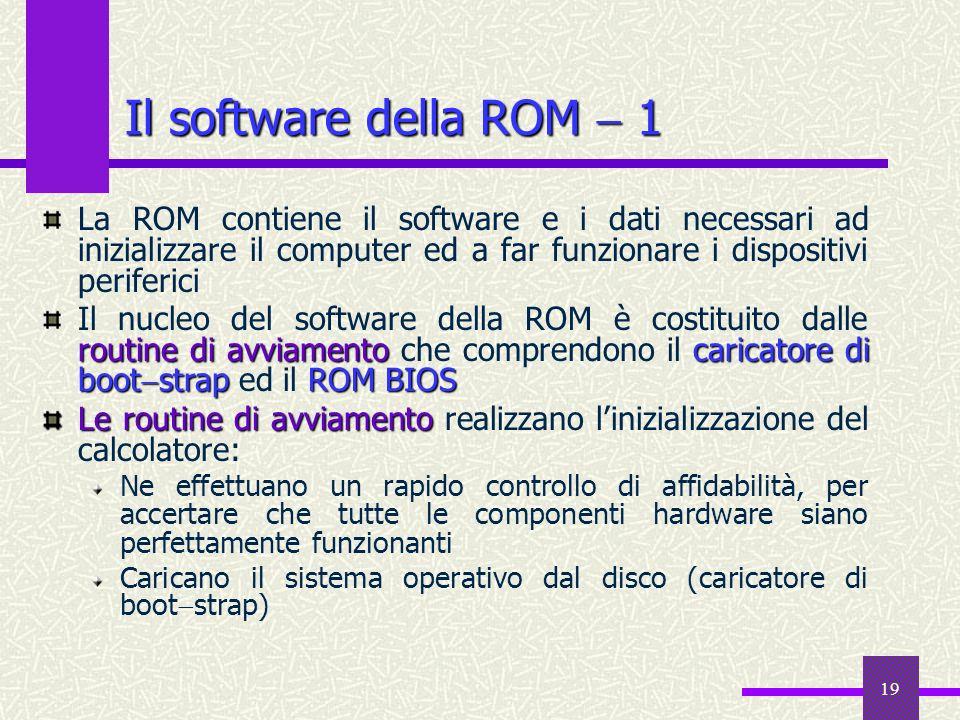 Il software della ROM  1La ROM contiene il software e i dati necessari ad inizializzare il computer ed a far funzionare i dispositivi periferici.