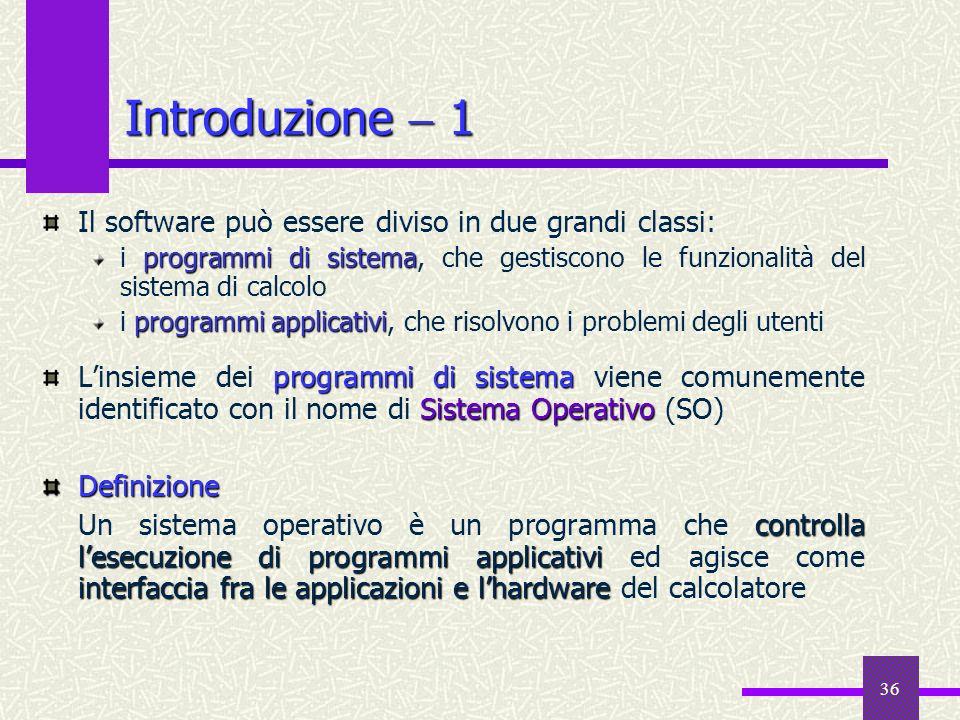 Introduzione  1 Il software può essere diviso in due grandi classi: