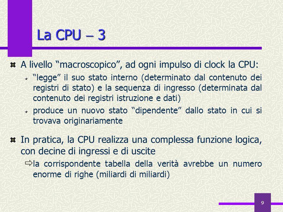 La CPU  3 A livello macroscopico , ad ogni impulso di clock la CPU: