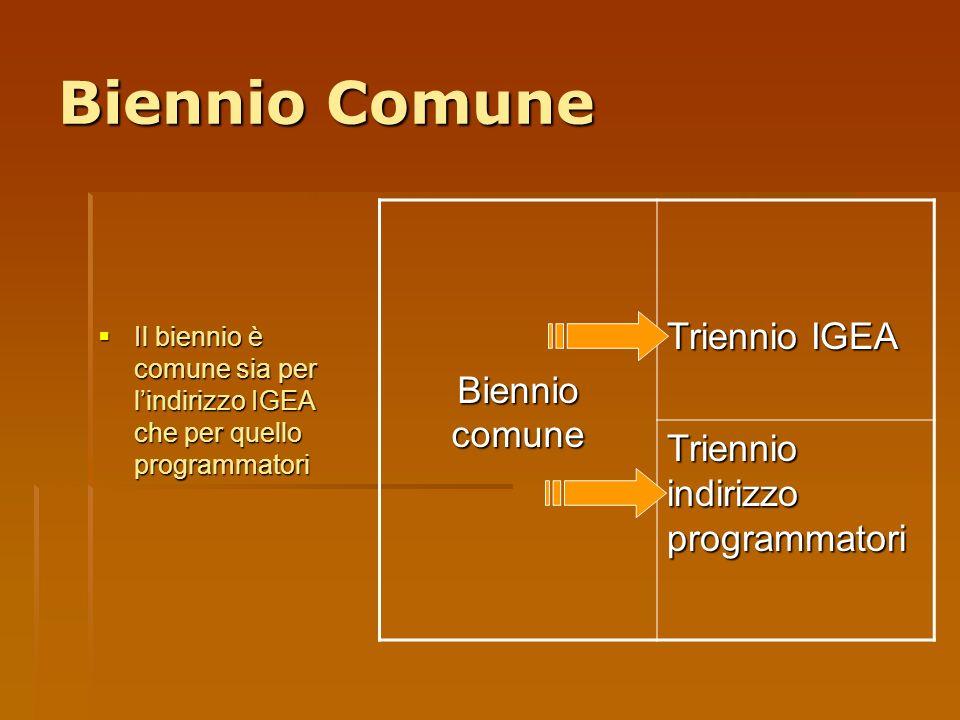 Biennio Comune Triennio IGEA Biennio comune