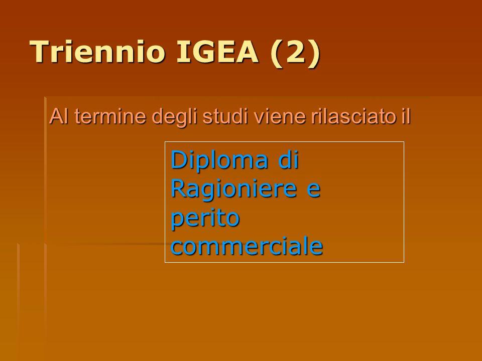 Triennio IGEA (2) Diploma di Ragioniere e perito commerciale