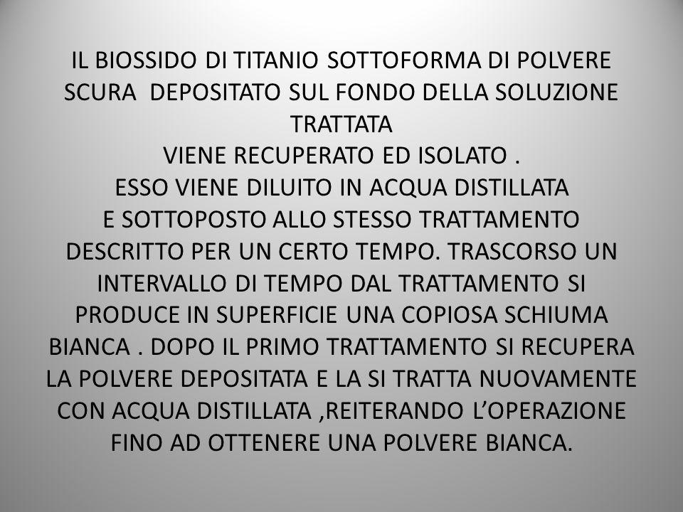 IL BIOSSIDO DI TITANIO SOTTOFORMA DI POLVERE SCURA DEPOSITATO SUL FONDO DELLA SOLUZIONE TRATTATA VIENE RECUPERATO ED ISOLATO .