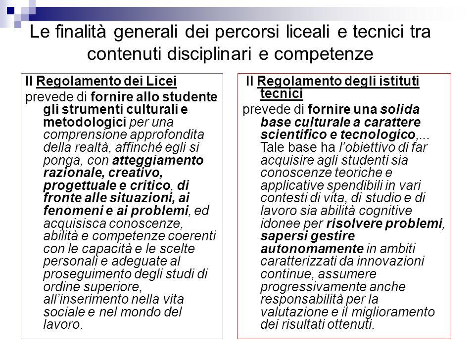 Le finalità generali dei percorsi liceali e tecnici tra contenuti disciplinari e competenze