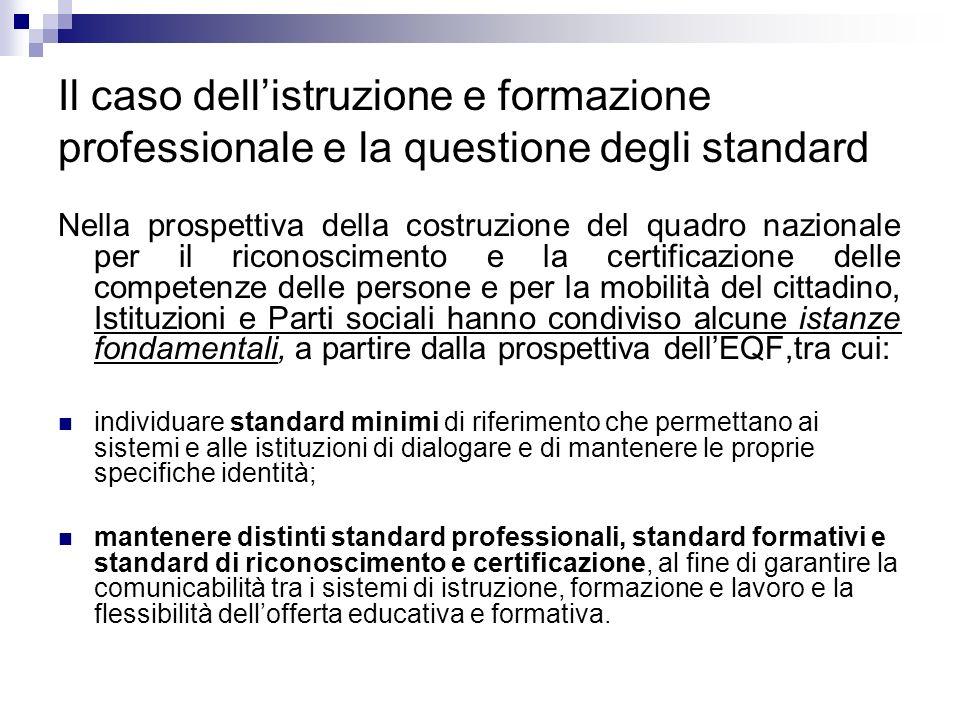 Il caso dell'istruzione e formazione professionale e la questione degli standard