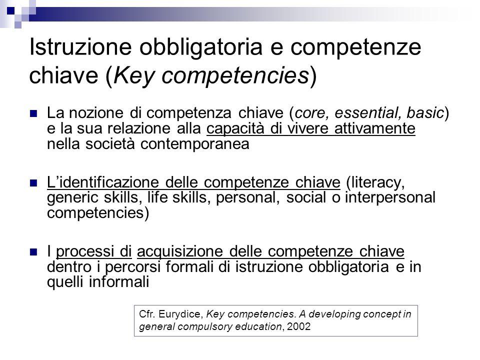 Istruzione obbligatoria e competenze chiave (Key competencies)