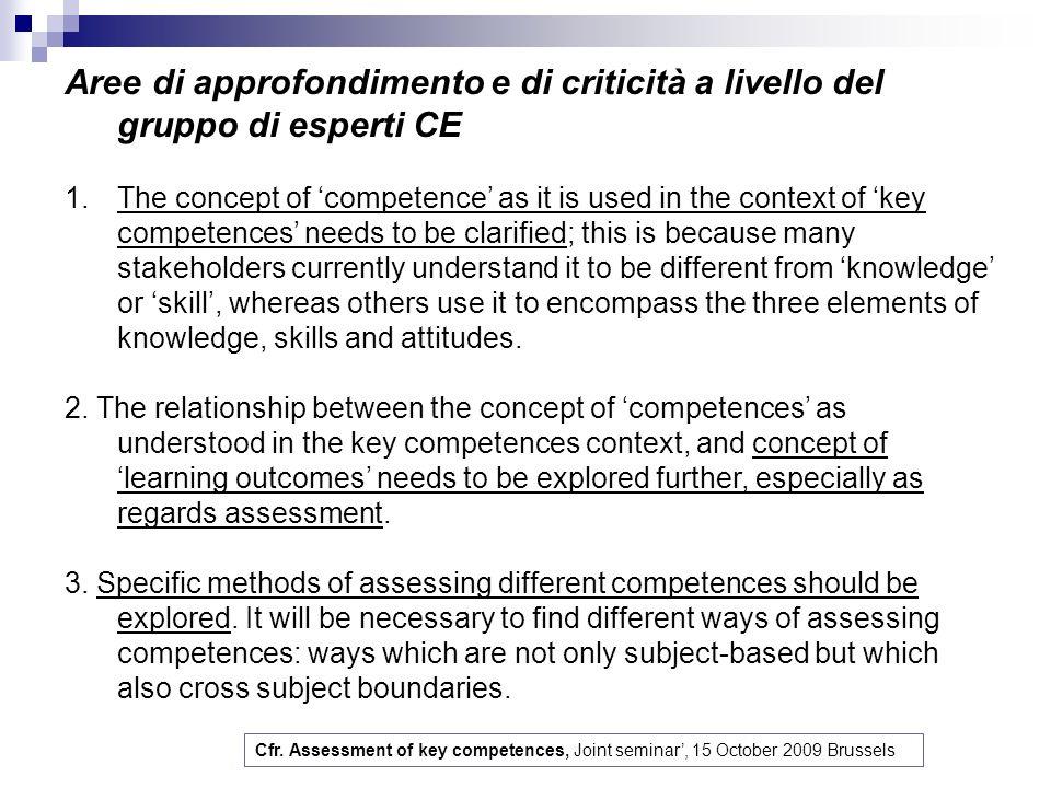 Aree di approfondimento e di criticità a livello del gruppo di esperti CE