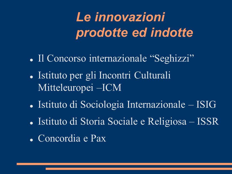 Le innovazioni prodotte ed indotte