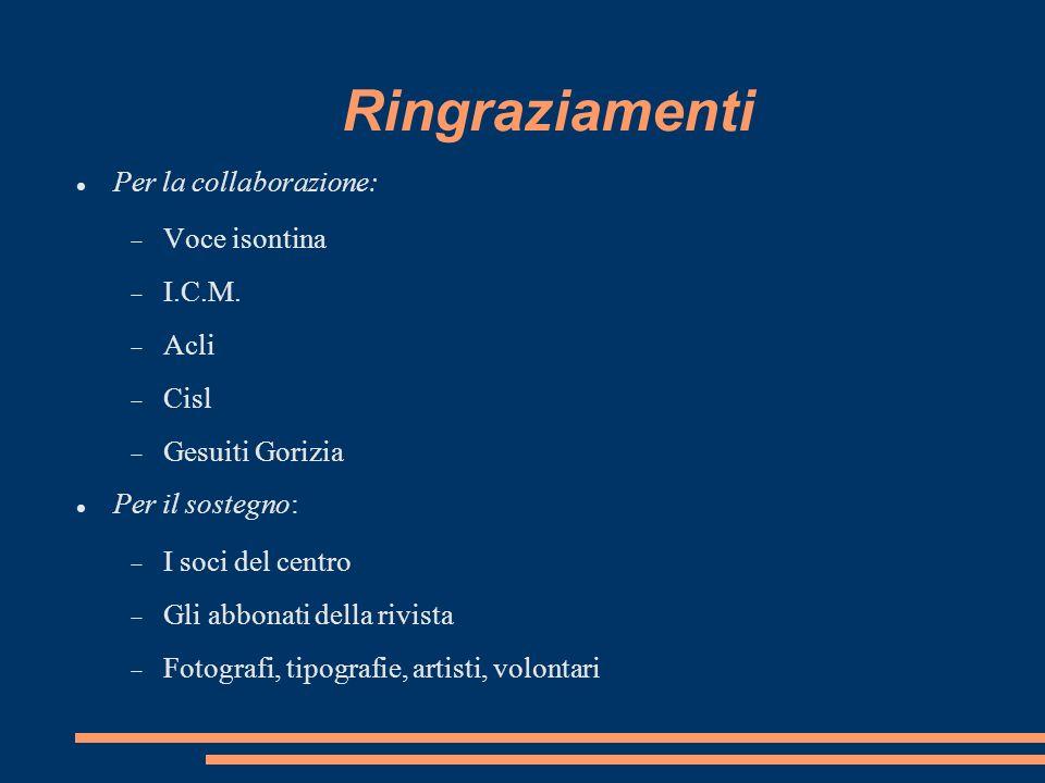 Ringraziamenti Per la collaborazione: Voce isontina I.C.M. Acli Cisl