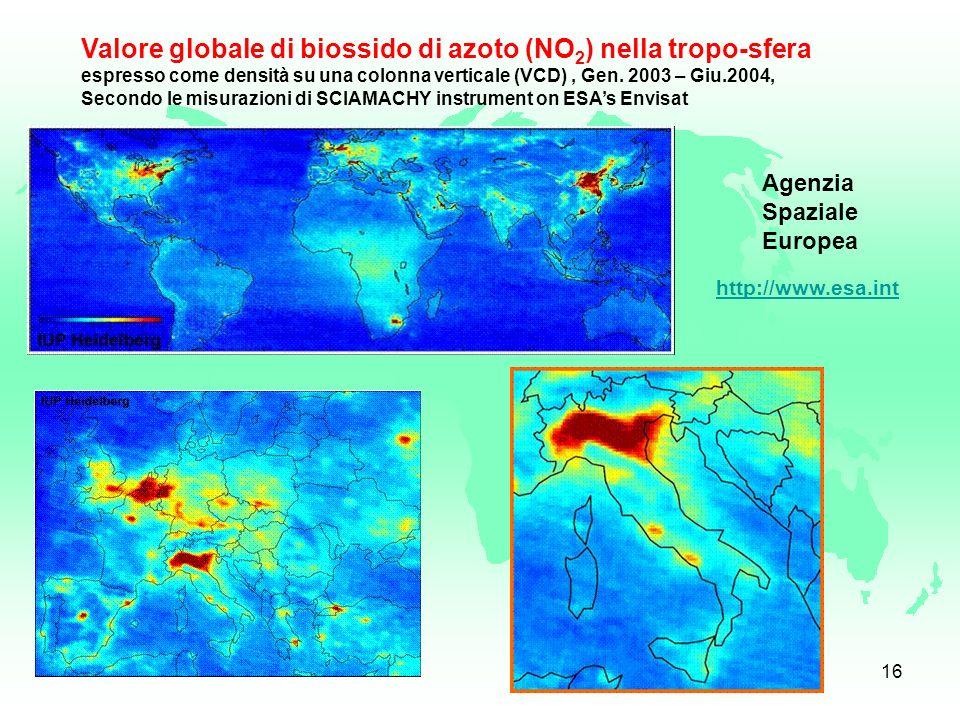 Valore globale di biossido di azoto (NO2) nella tropo-sfera