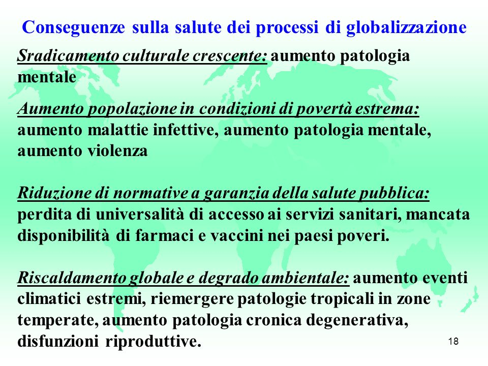 Conseguenze sulla salute dei processi di globalizzazione