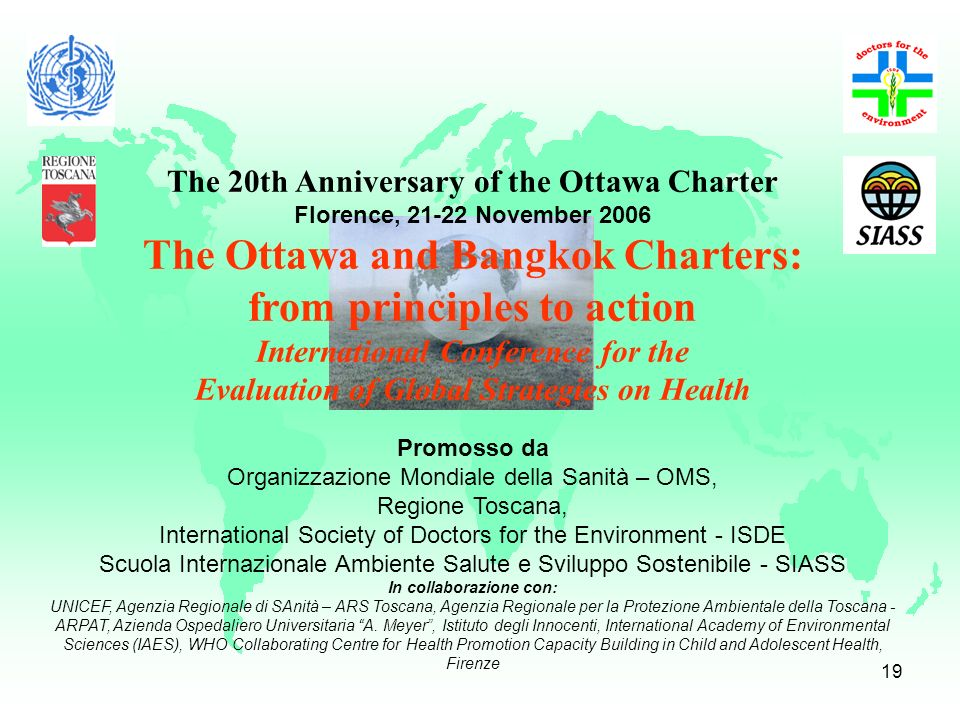 The Ottawa and Bangkok Charters: from principles to action