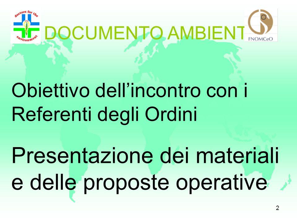 Presentazione dei materiali e delle proposte operative