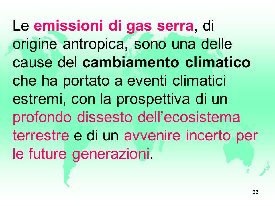 Le emissioni di gas serra, di origine antropica, sono una delle cause del cambiamento climatico che ha portato a eventi climatici estremi, con la prospettiva di un profondo dissesto dell'ecosistema terrestre e di un avvenire incerto per le future generazioni.