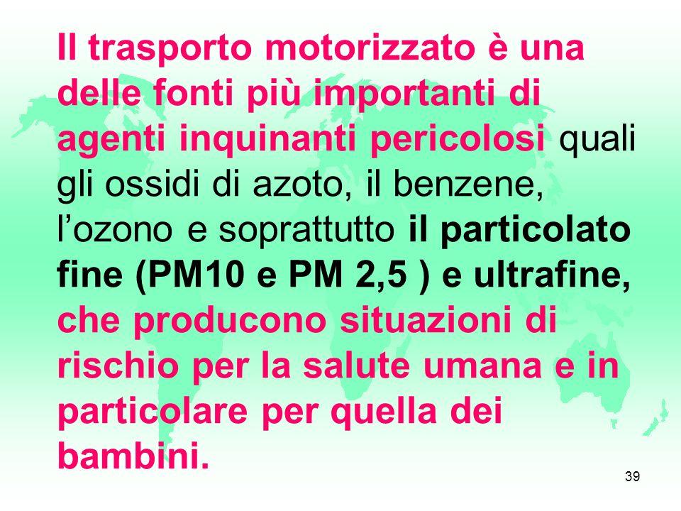 Il trasporto motorizzato è una delle fonti più importanti di agenti inquinanti pericolosi quali gli ossidi di azoto, il benzene, l'ozono e soprattutto il particolato fine (PM10 e PM 2,5 ) e ultrafine, che producono situazioni di rischio per la salute umana e in particolare per quella dei bambini.