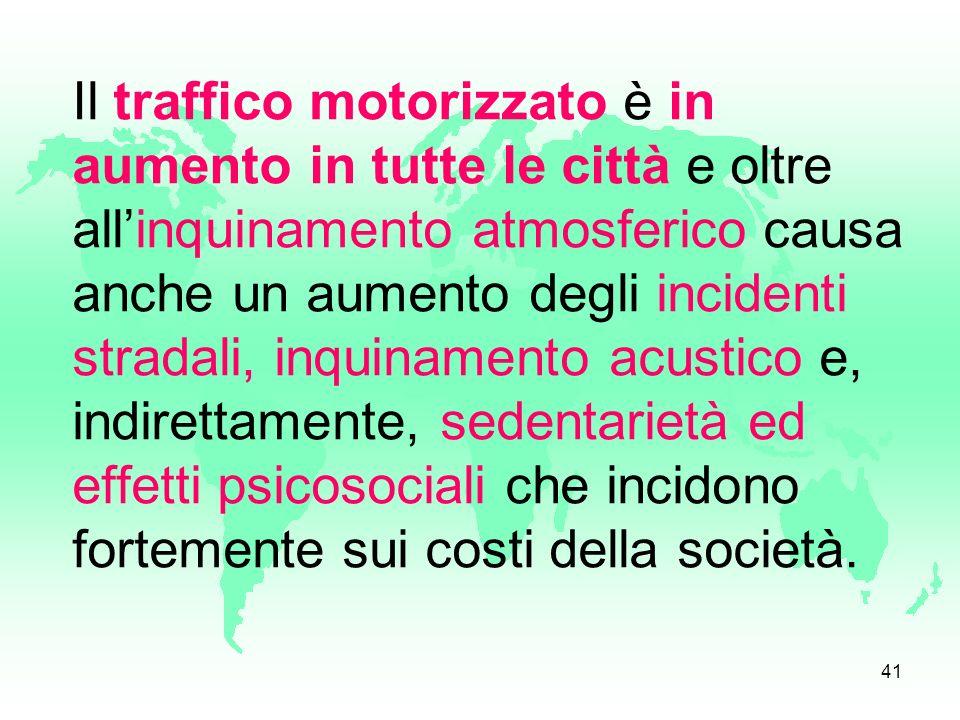 Il traffico motorizzato è in aumento in tutte le città e oltre all'inquinamento atmosferico causa anche un aumento degli incidenti stradali, inquinamento acustico e, indirettamente, sedentarietà ed effetti psicosociali che incidono fortemente sui costi della società.